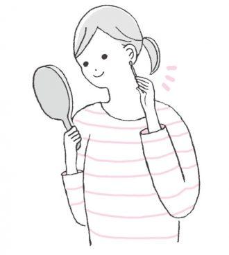 耳つぼの位置を覚えるまでは、ペンで印をつけて、その場所を押すとよい