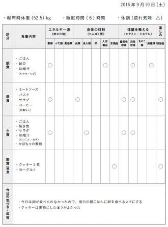 食事バランスチェック表の記入例