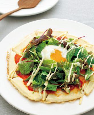塩豆腐のフライパンピザ