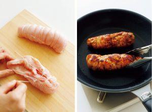 肉の上にたこ糸を横一文字に置き、それを巻き込むようにくるくるときつく巻く