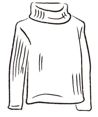 リブ編みのニットセーター