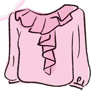 胸元にデザインのあるトップス