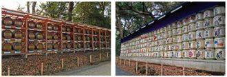 明治神宮に奉献された酒樽が並ぶ参道
