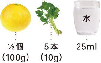 グレープフルーツ+みつ葉_材料