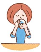 右手で茶碗を持ち、左手を底に添えて飲む。