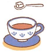 角砂糖は一度スプーンにのせてからカップ内に入れる。