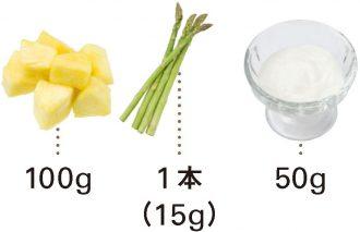 パイナップル+アスパラガス+ヨーグルト_材料
