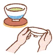 両手でふたを裏返し、茶碗の右側に置く。