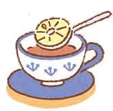 レモンを入れるときは、スプーンにのせ、そのままくぐらせたら引き上げて元の器に戻す。
