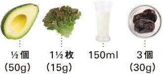 アボカド+サニーレタス+牛乳+ドライプルーン_材料